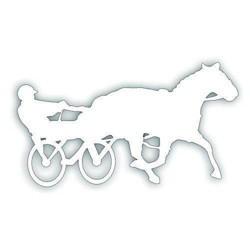 Solar Graphics USA Sulky Horse Racing Decal - for Equestrian Tack Box, Windshield, Truck Or Trailer Bumper Sticker - 6 x 11 1/2 Inch in White -  HE044W
