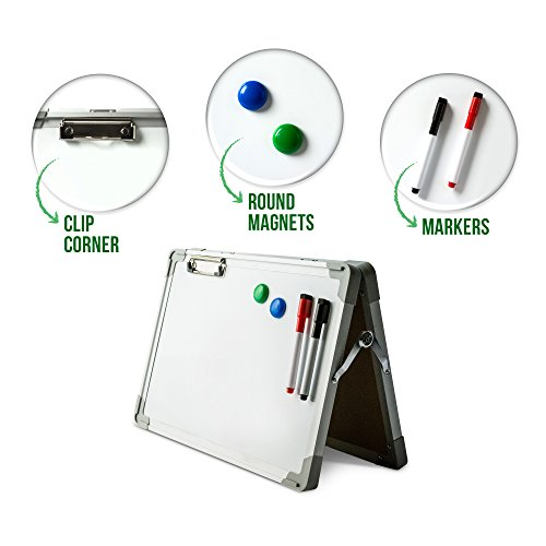 Ibex DryErase Desktop Whiteboard Easel: Magnetic Tabletop Double Sided Non Ghosting White Board, Portable Erasable Whiteboards with Paper Clip, 2 Magnets & 2 Color Markers with Eraser (Double Sided Dry Erase Marker)
