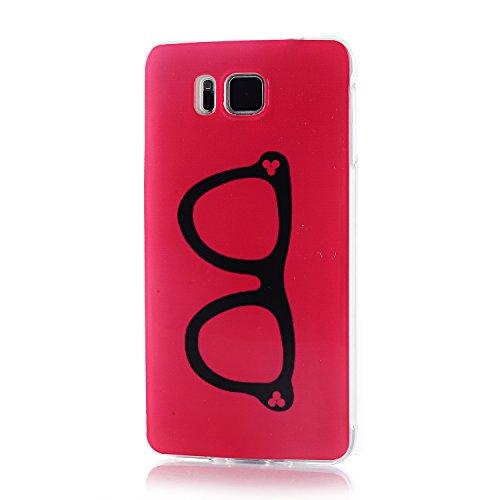 Galaxy Alpha Case,Vfunn Premium TPU Gel Scratch Resistant Funny Cartoon Case Cover for Samsung Galaxy Alpha G850F G850A G850M with 1 Screen Protector 1 Stylus Pen (Galaxy Alpha TPU Case) (Glasses)