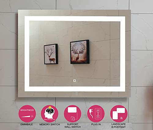 48X36 Inch LED Lighted Bathroom Mirror with Dimmable Touch Switch (GS099D-4836) (48x36 - Size Vanity For 48 Mirrors Bathroom