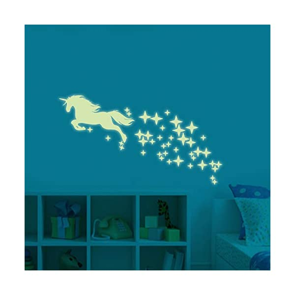Unicorn Vinyl Wall Decals Glow in The Dark Stars DIY Kids Girls Bedroom Home Nursery Room Wall Mural Decor 5