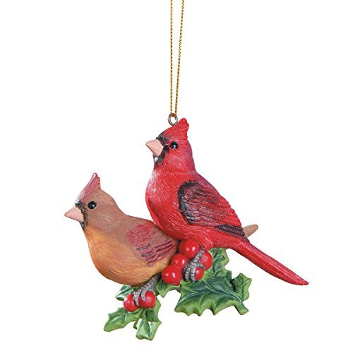 (Cardinals On Holly Christmas Ornament)