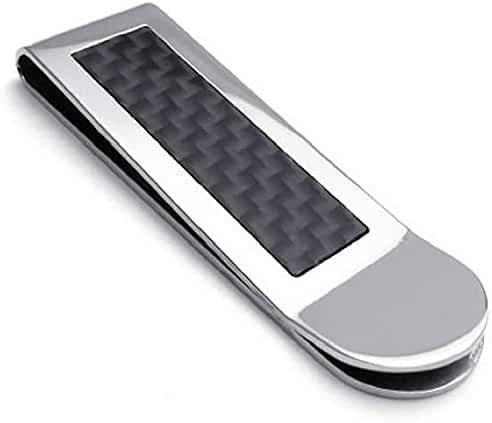 Premium Classic Men's Black Carbon Fiber Stainless Steel Money Clip Clamp Cash Credit Card Holder Wallet