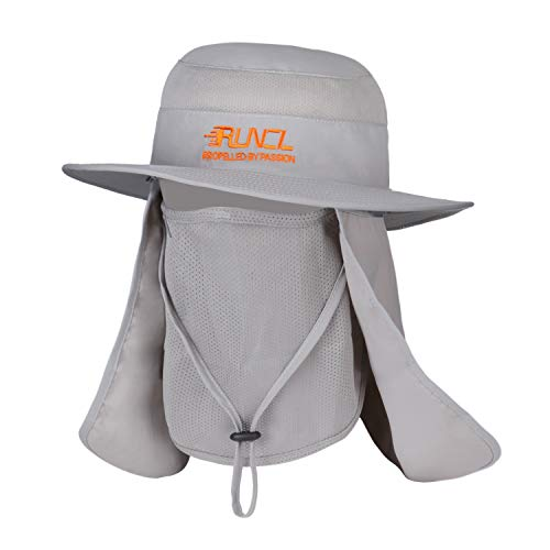RUNCL Sun Hat, Fishing Hat Sun Protection, Foldable Sun Cap with Wide Brim, Breathable Mesh Vents, Removable Neck Flap, Adjustable Chin Drawstring for Fishing Hiking Cycling Camping Traveling (Gray)