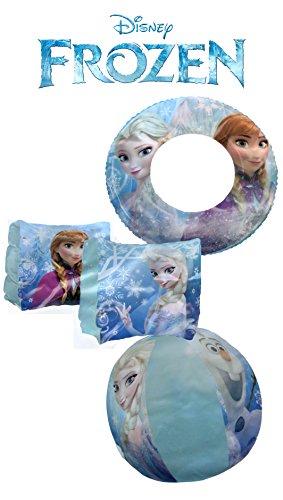 Disney Frozen Elsa and Anna 3 Piece Pool Toy Set - Swim Ring, Beach Ball, Arm Floats