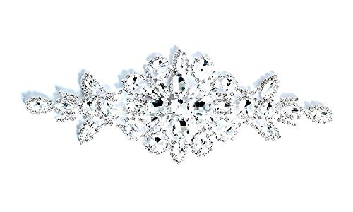 Rhinestone Motif Diamante Crystals Sew On Applique Patch - Perfect For Wedding Bridal Dress, Casual Or Formal Wear Fashion Accessories 230Mm X 90Mm (Approx) Patch No. 5052 ()