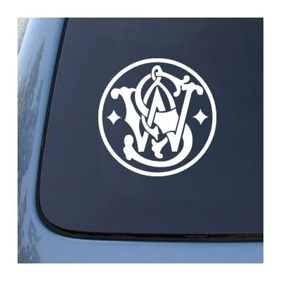 CMI322 Smith and Wesson Guns Logo - Car, Truck, Notebook, Vinyl Decal Sticker | Vinyl Color: White: Automotive