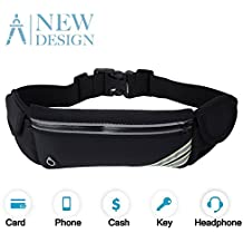 Running Belt Waist Pack, Water Resistant Waist Bag, Sports Fanny Pack with Adjustable Belt for Phone Men Women iPhone Running Hiking Cycling Travel Workout.