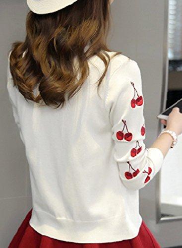 Motif Tricoté Cerise Top Boutonné De Femme Pull Pour Blanc Achicgirl Cardigan xpanqCw0x