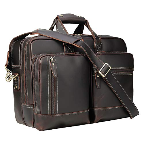 Leather Expandable Messenger - Polare Full Grain Leather 16.5'' Expandable Business Briefcase Laptop Travel Bag
