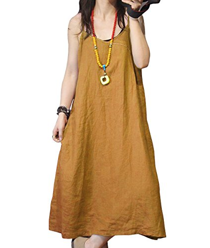 - YESNO YB4 Women Summer Casual Long Loose Maxi Slip Dress 100% Linen Stitched/Pockets