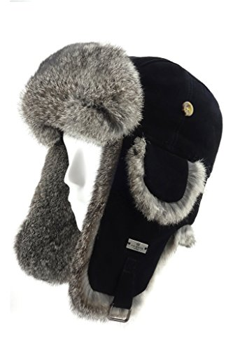 (FUR WINTER Lamb Suede Leather Rabbit Fur Aviator Trapper Hat BLK L)