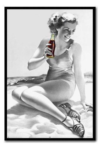 Coca Cola Coke Beach Girl Poster Black Framed - 96 5 x 66