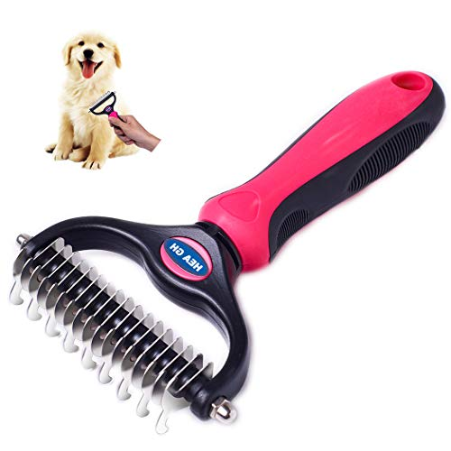 Pet Grooming Tool Pet Dematting Comb - 2 Sided Undercoat Rake for Cats & Dogs - Safe Dematting Comb for Easy Mats & Tangles Removing - No More Nasty Shedding and Flying Hair ()
