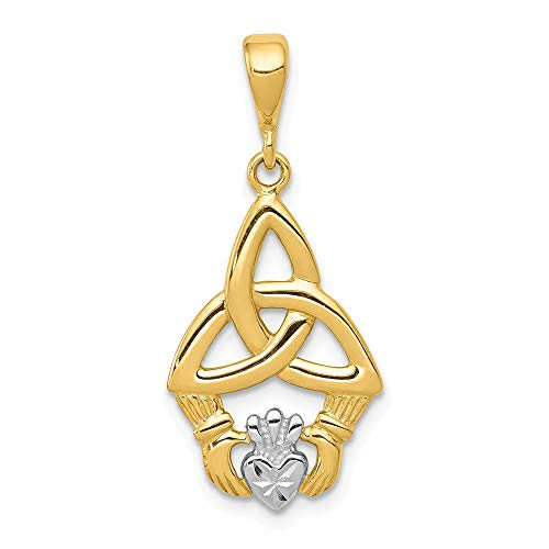 14k Yellow Gold Irish Claddagh Celtic Knot Pendant Charm Necklace Fine Jewelry For Women Valentines Day Gifts For Her