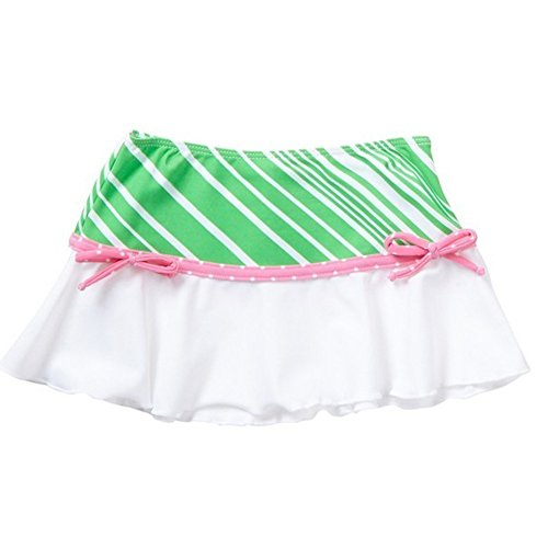 Azul Big Girls Green Pink Stripe Dot Candy Crush Trendy Swim Skirt (Candy Stripe Skirt)