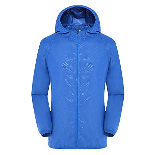 Men Casual Ultra-Light Jackets Windproof Rainproof Windbreaker Shell Trench Coat Blue
