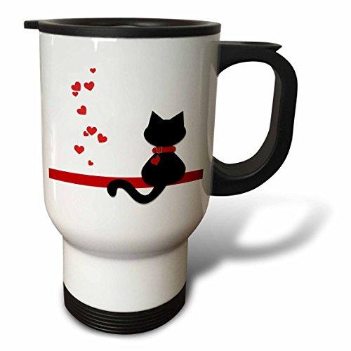 "3dRose tm_164791_1"" Pet Lovers Red Hearts Black Kitty Cat"" Travel Mug, 14 oz, Multicolor"
