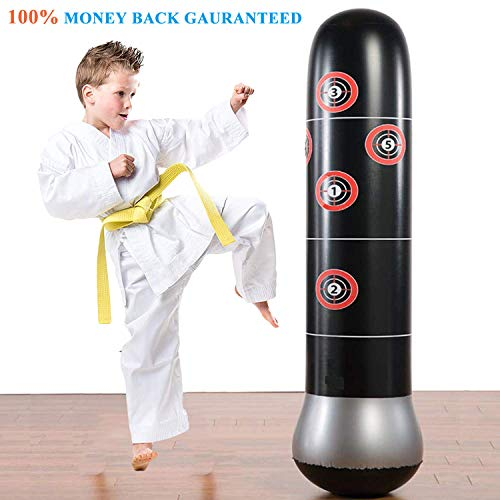 Eforoutdoor Fitness Punching Bag Heavy Punching Bag Inflatable Punching Tower Bag Freestanding Children Fitness Play Adults De-Stress Boxing Target Bag 5.25ft ()