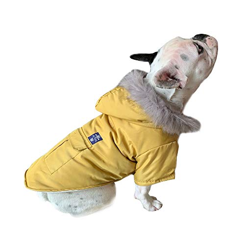 PetBoBo Cat Dog Doggie Down Jacket Hoodie Coat Pet Clothes Warm Clothing for Small Dogs Winter (L, Yellow) (Cat Down Jacket)