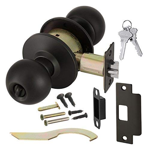(Commercial Grade 2 Keyed Entrance Door Knob with Cylindrical Lockset, Oil Rubbed Bronze, Non-Handed, by Lawrence Hardware LH5304 )