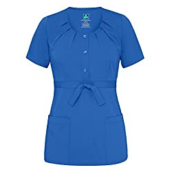 Adar Indulgence Womens Jr Fit Scoop Neck Pleated Scrub Top - 4200 - Royal Blue - L