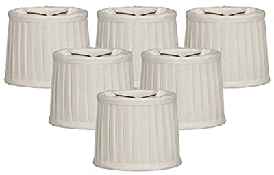 Royal Designs Side Pleat Chandelier Shade, Size 6, White, Set of 6, (CS-212WH-6)