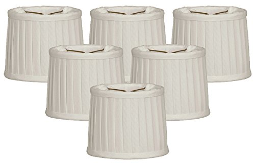 - Royal Designs Side Pleat Chandelier Shade, Size 5, White, Set of 6, (CS-211WH-6)