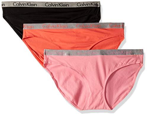 - Calvin Klein Women's Radiant Cotton Bikini Panty 3 Pack, Boudoir/Black/Pink Mango, X-Small