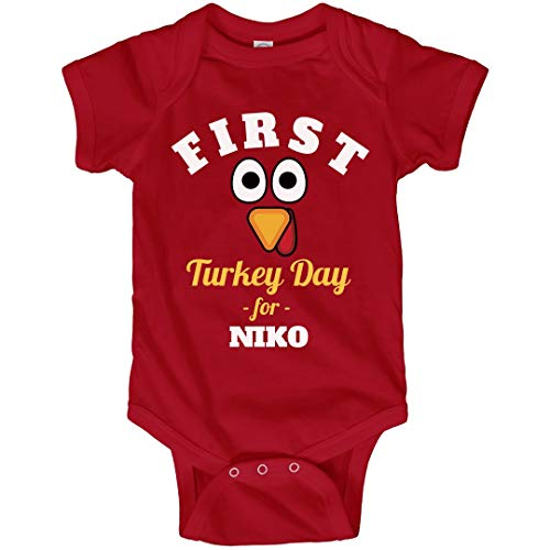 FUNNYSHIRTS.ORG First Turkey Day for Baby Niko: Infant Bodysuit Red ()