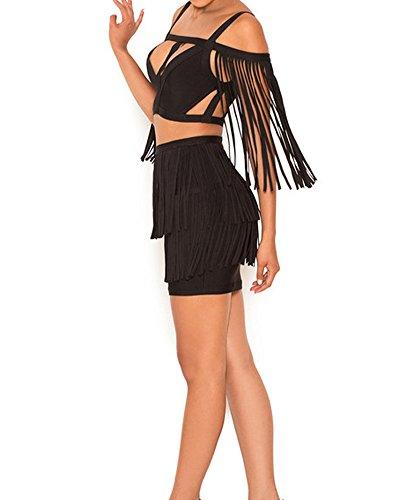 Teilig Zweiteilig Whoinshop 2 Bodycon Weg Cocktailkleid Damen Schulter Figurbetontes Der Kleid Schwarz Von