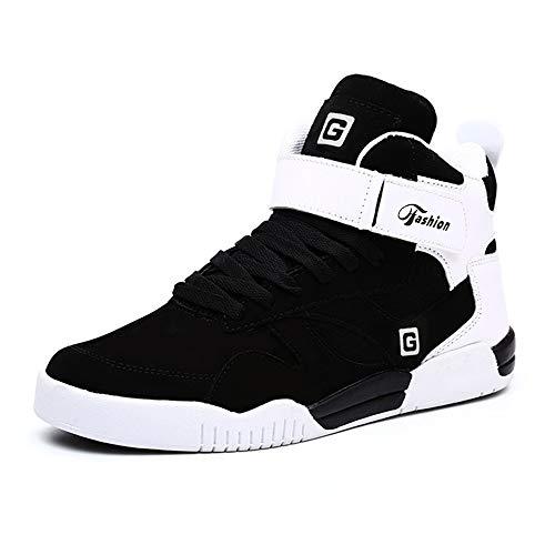MUOU Scarpe da Uomo Sneakers Casual Sportive High-Top Scarpe Sneaker Bianche Scarpe Piatte Comode Nero-1
