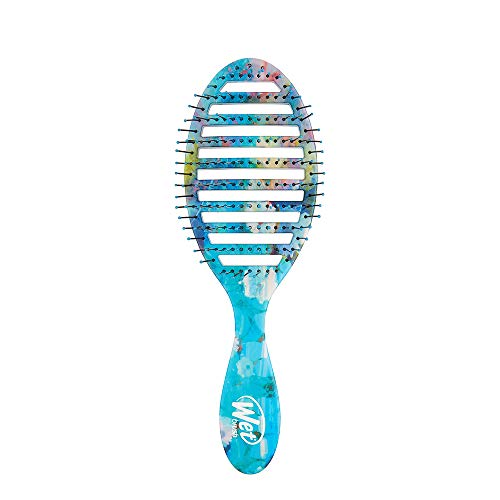 Wet Brush Nea Flora Speed Dry- Detangling Knots, Snag-Free, Heat-Resistant, No pain, Split-Ends & Hair Breakage, Blow Drying, Less Drying Time, Blue Yellow Floral
