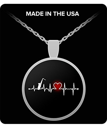 Price comparison product image Sterling Silver Round Necklace Gifts - Saxophone Heartbeat Music Instruments Jewelry Pendants - Perfect for Men Grandpa Dad Papa Father Boyfriends in Birthday Father's Day Special Occasion Anniversary