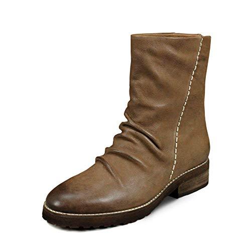 Lianaii Damen Stiefel Herbst Und Winter Leder Leder Leder Gummi Sohlen High Heel Mode Martin Stiefel Khaki 37 eebf1a