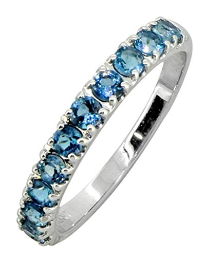 (YoTreasure 0.70 Cts. London Blue Topaz Solid Sterling Silver Eternity Band Ring)