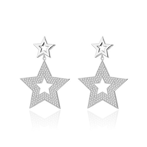 Dangle Earring for Women,Star Drop Earring Girls Gold Silver Stud Earring Stainless Steel Earring with CZ Crystal (Silver Plated)