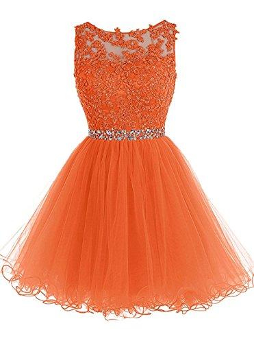 orange satin prom dress - 4