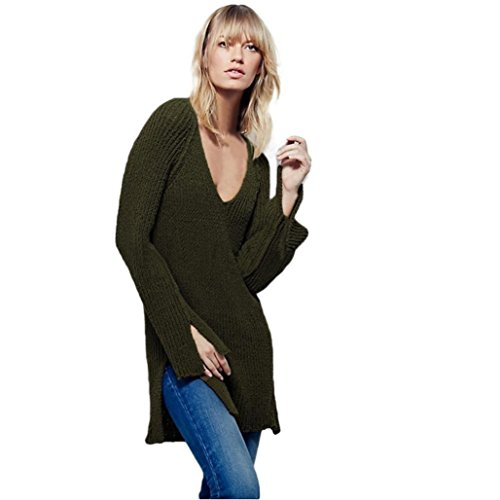 EKIMI Women Long Sleeve V Neck Backless Pullover Loose Sweater Tops (S, Army Green)