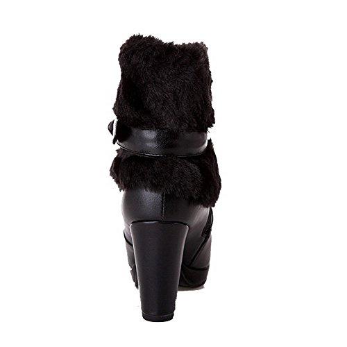 VogueZone009 Damen Blend-Materialien Schließen Zehe Niedrig-Spitze Hoher Absatz Stiefel Schwarz-Schleife