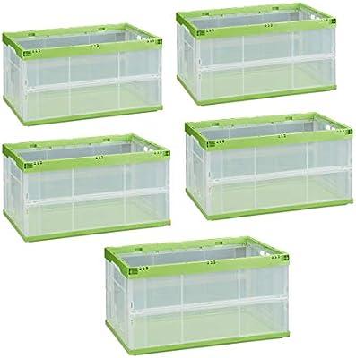 Relaxdays Pack de 5 Cajas de Almacenaje Plegables 60 L, Plástico, Transparente-Verde, Pack de 2 Cajas de Almacenaje Plegables 60 L, Plástico, Transparente-Verde, 31 x 59 x 39.5 cm: Amazon.es: Hogar