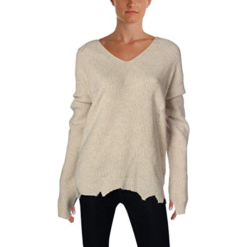 - Helmut Lang Womens Wool Blend Distressed Pullover Sweater Beige M