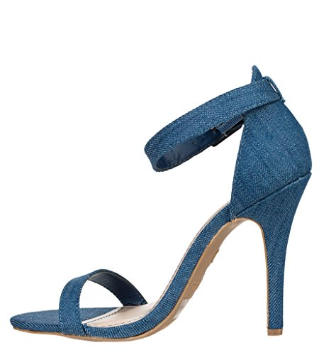 Anne Michelle Enzo Dames Open Teen Synthetische Sandalen Blauwe Denim