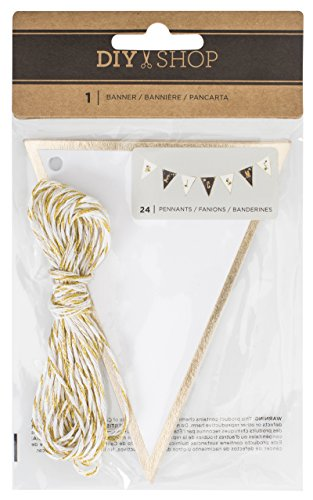 American Crafts DIY Shop 3, Gold and White Banners 24 Pieces (370898)