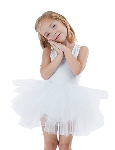 Girls' Camisole Tutu Dance Leotard with Fluffy 4-Layers Skirt Tutu Dress for Dance, Gymnastics and Ballet White 2 Years