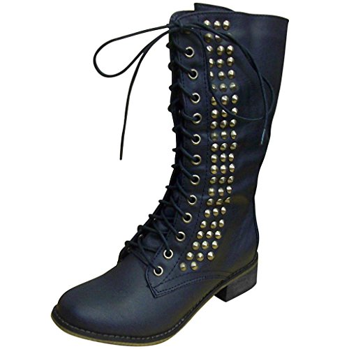 Breckelle's Women's Seattle-12 Stylin Combat Boots With Studs