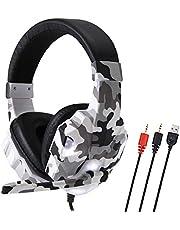 Domary SY830MV Gaming Headset 3,5 mm com fio sobre a orelha Fone de ouvido com cancelamento de ruído E-Sport com microfone LED luz AUX + USB para PC de mesa