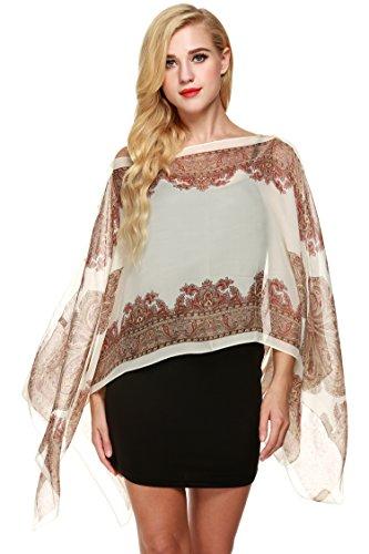 Zeagoo Womens Paisley Print Chiffon Poncho Batwing Sleeve Tunic Top 412nN67FOBL