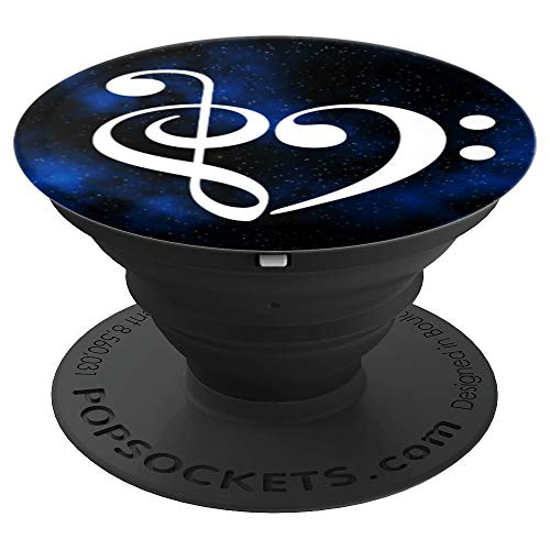 Treble Clef Bass Clef Heart Blue Milky Way Stars Bassist - PopSockets Grip and Stand for Phones and Tablets