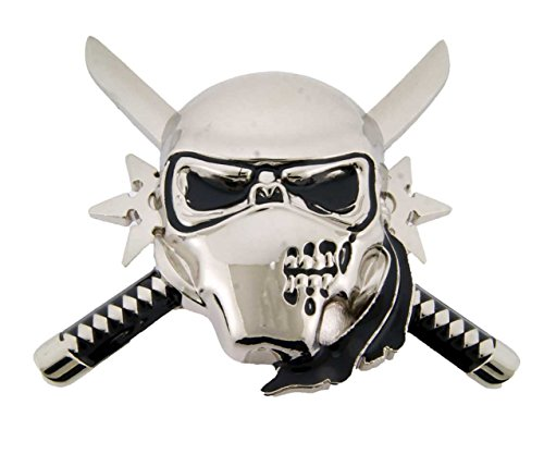 (Skull Crossbones Head Swords Gun Grim Unisex Men's Halloween Costume Belt Buckle (Skull Cross Swords Ninja Size: 3.50